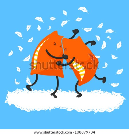 two pillows having a pillow fight (JPEG version is available in my gallery) - stock vector