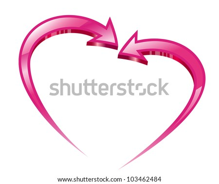 Two pink arrows create a heart shape. Vector illustration. - stock vector