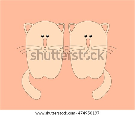 two pink cats vector illustration
