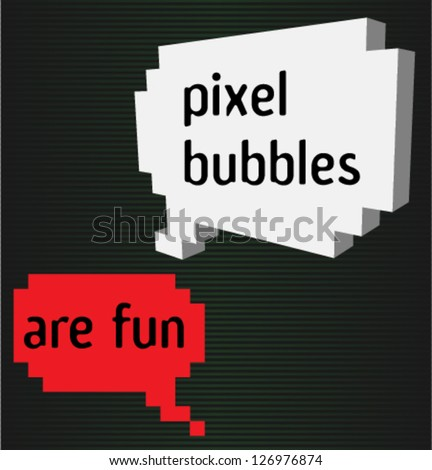 Two pixel bubbles with signs - stock vector