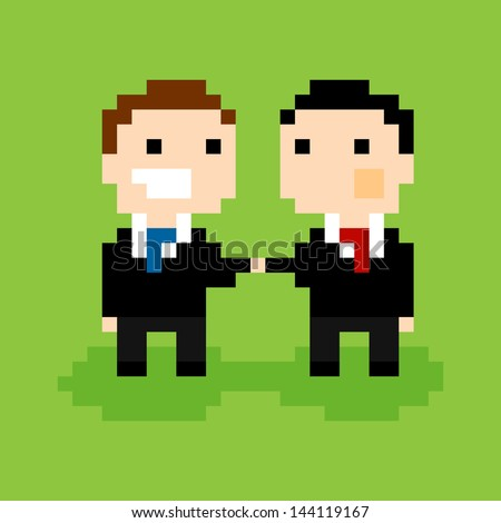 Two pixel people in suits, shaking hands, vector illustration