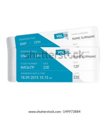 two plane tickets isolated on white background - stock vector