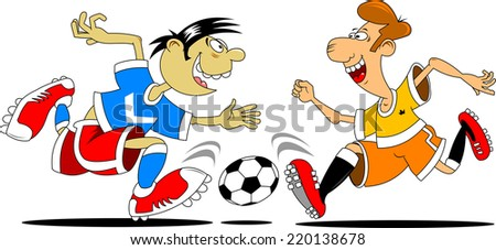 two players fighting for the ball, vector and illustration - stock vector