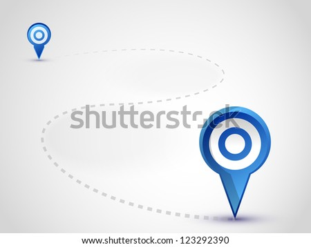 two pointer on the map - stock vector