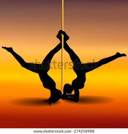 Two Pole dancers with long and short hair  on the pole  on the yellow & red background. Vector illustration - stock vector