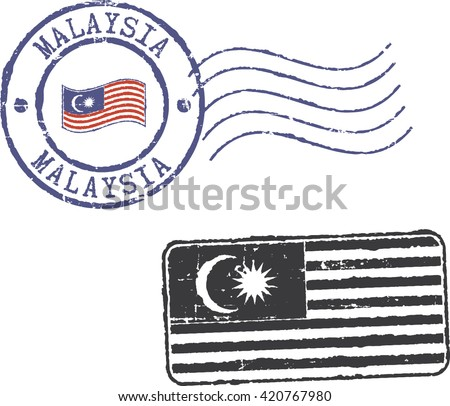Two postal grunge stamps 'MALAYSIA'. - stock vector