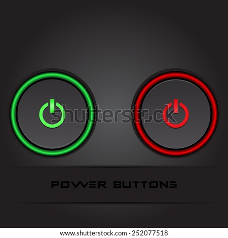 Two power buttons on black background stylish vector - stock vector