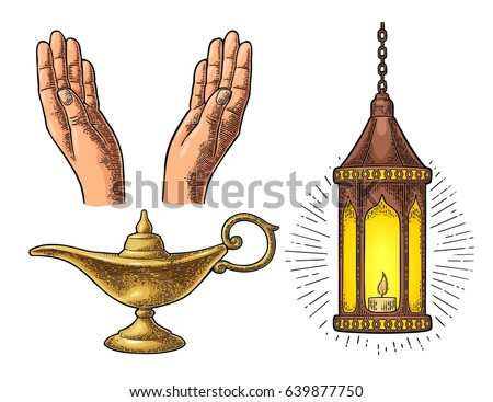 Two Praying Hands  arabic hanging lamp with chain and Aladdin magic metal  lamp  For. Genie In A Bottle Stock Images  Royalty Free Images   Vectors