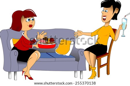 Two pretty girls eating pizza and chatting at a cafe - stock vector