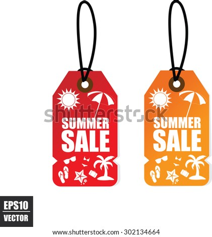 Two Pricetags Summer Sale With a Sun, Umbrella, Coconut tree on Red and Orange Tag Background. Vector - stock vector
