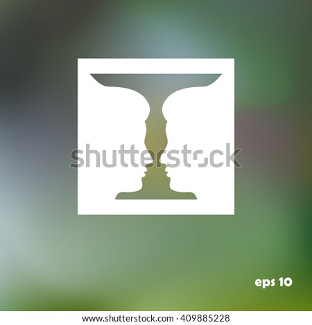 Two profile face human  or vase, vector