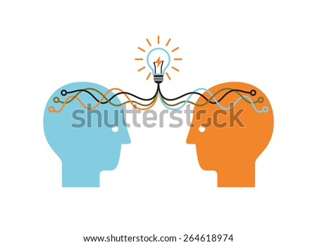 Two profile faces with light bulb. Brainstorming infographics. Vector illustration. - stock vector