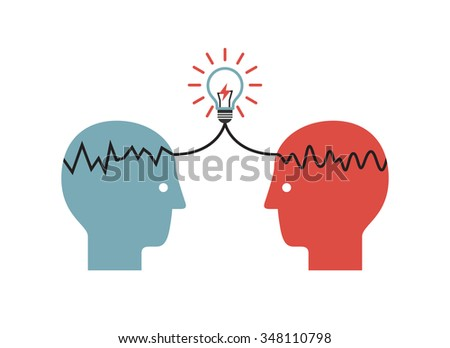 Two profile faces with light bulb. Concept of business idea and brainstorming infographics. - stock vector