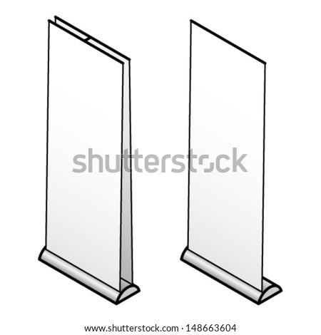 Two pull-up exhibition banners ready for your graphics. - stock vector