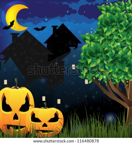 Two pumpkin monsters on a night city background. Abstract Halloween scene. - stock vector