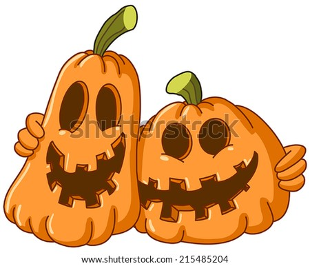 Two pumpkins hugging each other - stock vector