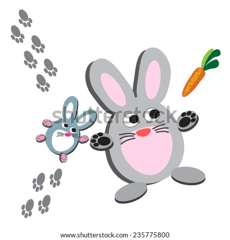 Two rabbits with carrot vector illustration. Cute cartoon animal. Funny characters. Farm animal. Animal silhouettes. Pet animals. On white. Eps 10. Design elements, clip art. - stock vector