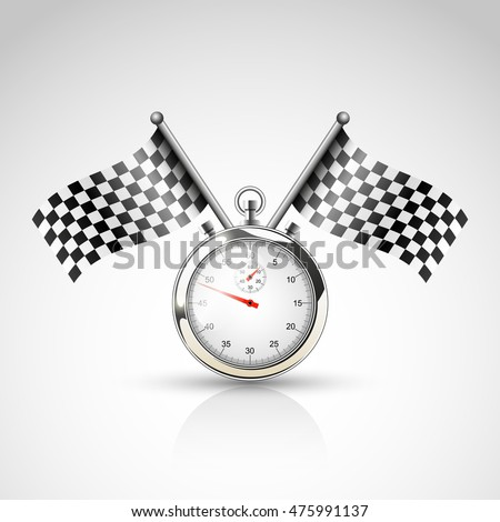 Two racing flags and stop watch, vector background