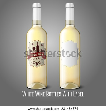Two realistic bottles for white wine with labels isolated on grey background with place for your design and branding. Vector - stock vector