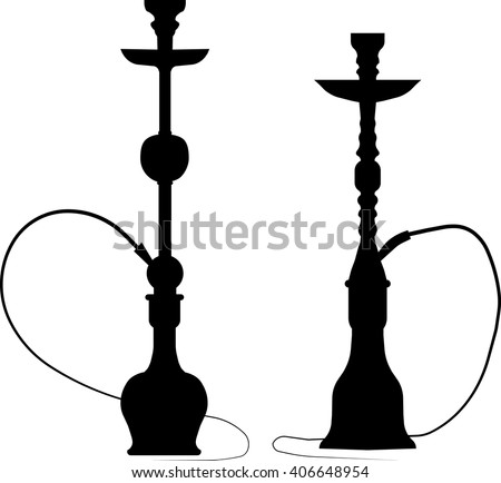 Two realistic hookah black silhouettes isolated on white
