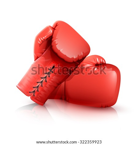 Two realistic red leather boxing gloves isolated on white backgrouns vector illustration