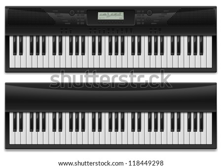 Two realistic synthesizer.  Illustration of designer on white background - stock vector