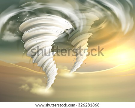Two realistic tornado swirls with sun and clouds on background vector illustration - stock vector