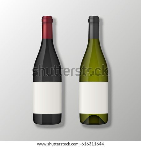 Two realistic vector wine bottles in top view with blank labels on gray background. Design template in EPS10.