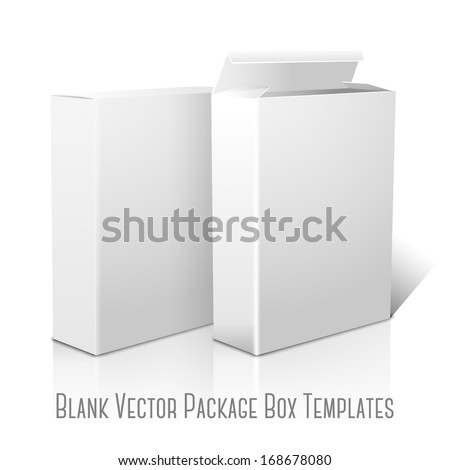 Two realistic white blank paper packages for cornflakes, muesli, cereals etc. Isolated on white background with reflection, for design and branding. Vector - stock vector