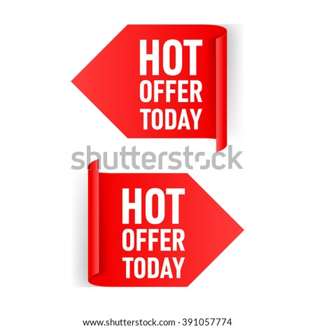 Two Red Arrow Paper Stickers on White Background - stock vector