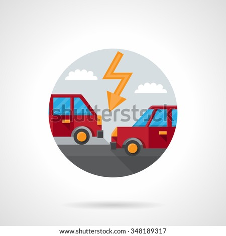 Two red automobiles on a road and lightning. Car crash. Auto insurance button. Round flat color style vector icon. Single web design element for mobile app or website.
