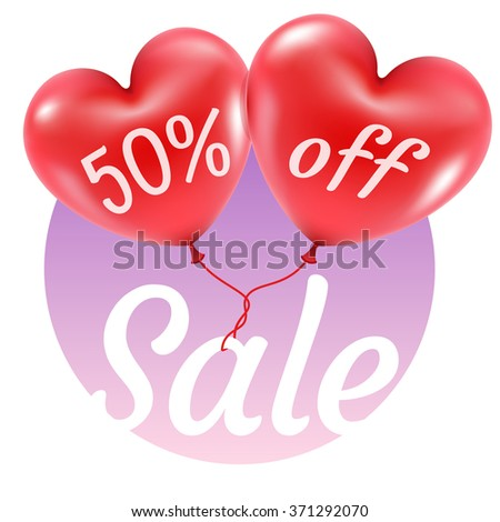 Two Red Balloons Form Heart Text Stock Vector 371292070 Shutterstock