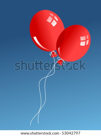 Two red baloons in sky - stock vector