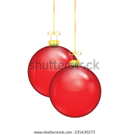 Two red Christmas balls on a gold ribbon isolated on white background