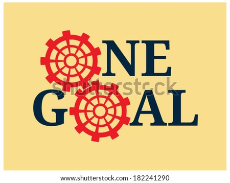 Two red cogs with letters - stock vector