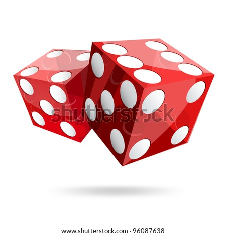 two red dice cubes on white background. - stock vector