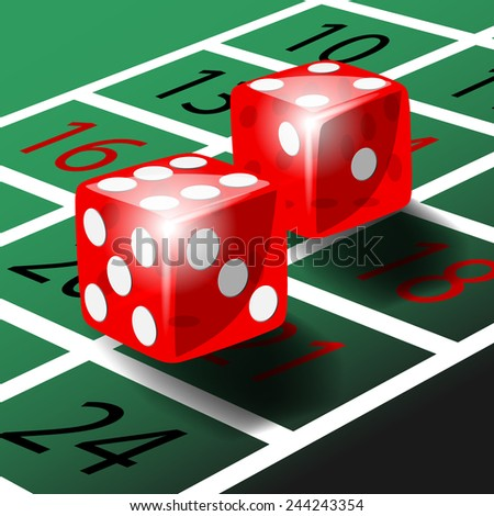 Two red dice with shadow on green roulette table illustration vector - stock vector
