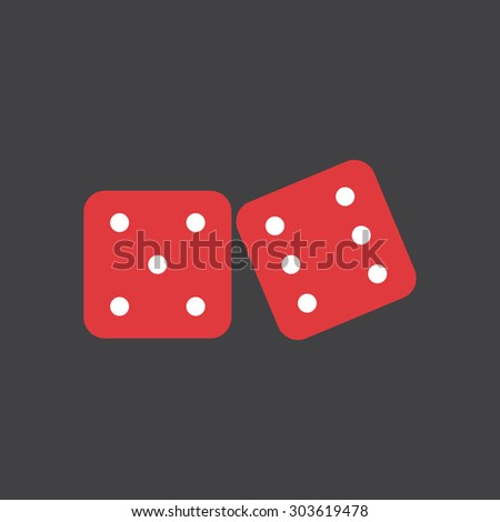 Two red dices simple flat style icon. Gamble,random and risk. Vector EPS8