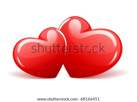 Two red glossy hearts in perspective vector illustration - stock vector
