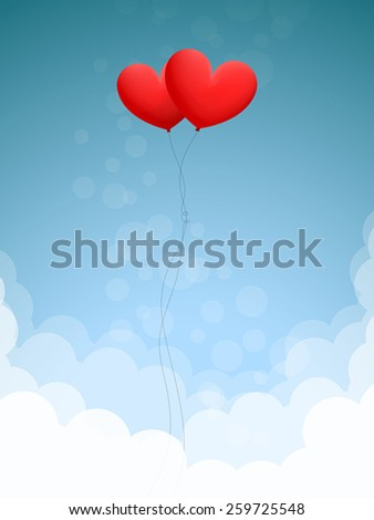 Two red heart-shaped balloons are flying in blue sky over white clouds - stock vector