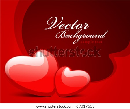 Two red hearts Valentine's day vector background