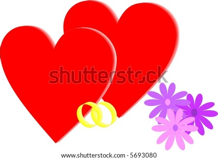 Two red hearts with wedding rings and flowers - stock vector