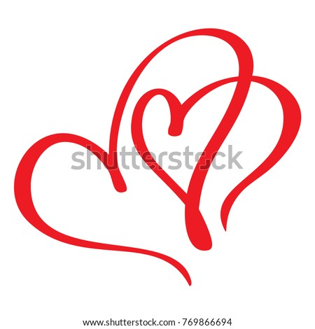 Two red lovers heart. Handmade vector calligraphy. Decor for greeting card, photo overlays, t-shirt print, flyer, poster design