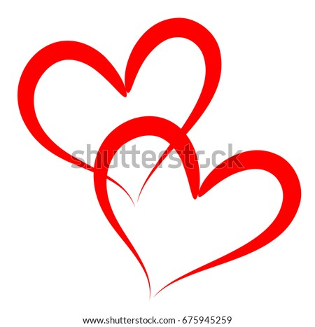 two red outline vector hearts illustration stock vector 675945259 rh shutterstock com hearts vector free download hearts vector png