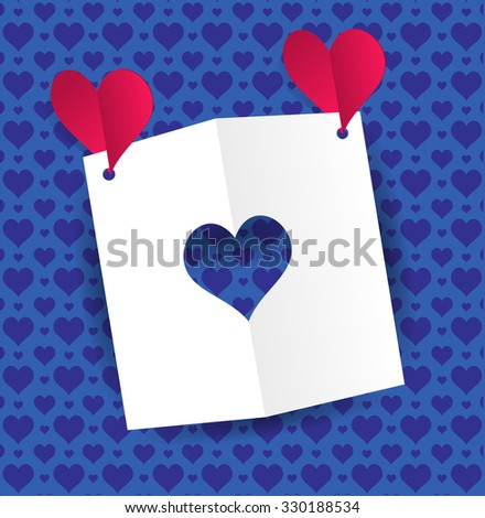 Two red paper hearts fly and keep a card with a heart-shaped slot. Blue background with ornaments pattern of hearts Valentine's day greeting card with cut paper heart. Vector illustration - stock vector