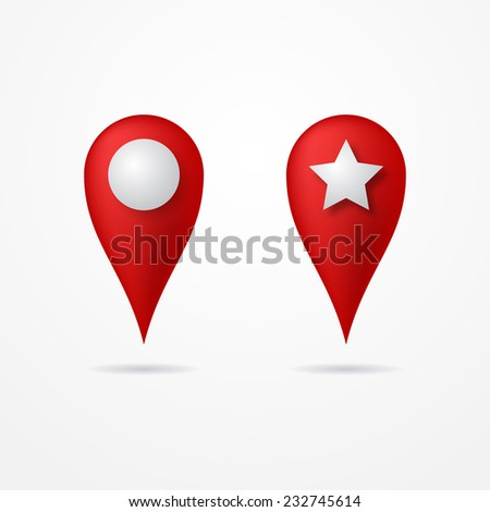 Two red realistic marker pointers with circle and star - stock vector