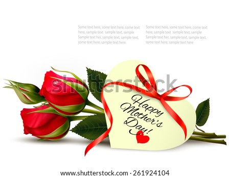 Two red roses with a heart-shaped Happy Mother's Day note and red ribbon. Vector. - stock vector