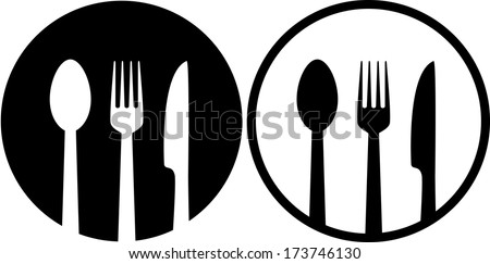 two restaurant sign with spoon, fork and knife - stock vector