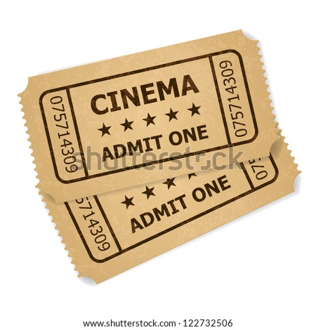 Two retro cinema tickets. Illustration of designer on a white background