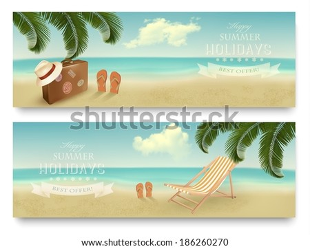 Two retro summer vacation banners. Vector. - stock vector